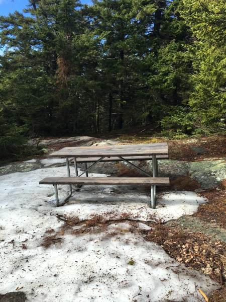 Just below the Gunstock summit, on the Brook Trail, there is a picnic bench and two memorial markers.