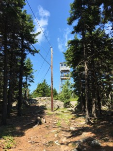 First glimpse of the fire tower on the Belknap summit.
