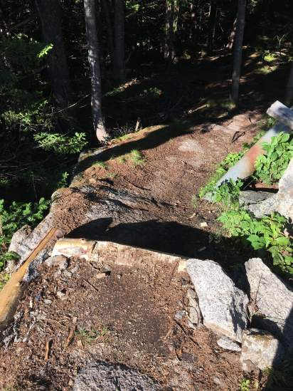 At the top of the Gunstock trail, another much-needed step and trailbed improvements by BRATTS.
