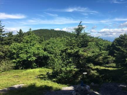 Looking back at the summit of Gunstock from the meadow on Belknap's blue trail.
