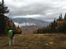 On the way down the Polecat ski trail, we got a glimpse of the fall foliage in Pinkham Notch. It's much duller in the pictures than it was to my eyes.