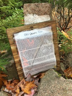 Nearing the end of the Quarry Trail is the site of the old quarry, marked with an informational sign.