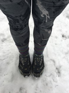 Thin layer of snow on well-traveled trails, so I wore trail runners. But the snow was wet, sticky and mushy, so I wore my microspikes for more confident footing.