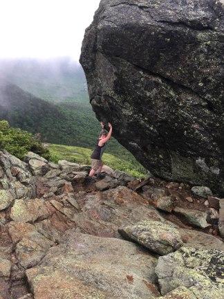 Obligatory holding-up-the-boulder shot.