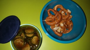 Welcome: Pretzels (store-bought) with Homemade Pickles