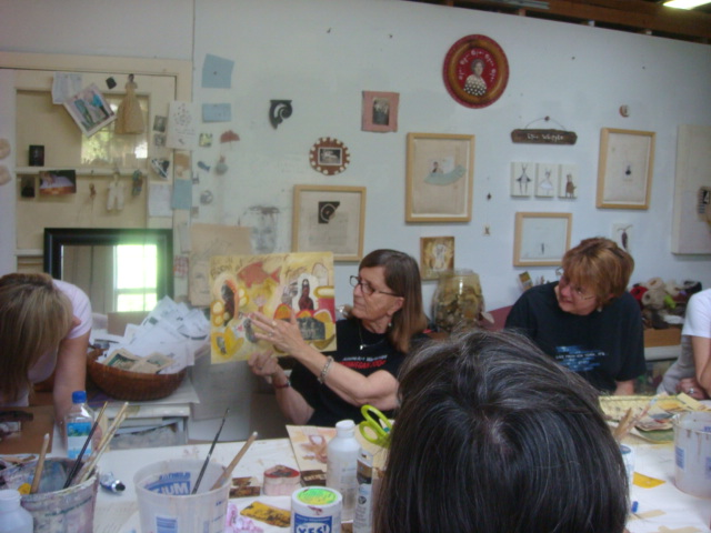 making mixed media and collage in my studio