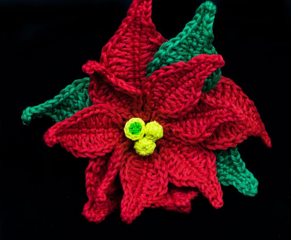 Poinsettia Applique Crochet Pattern Lyns Crafts
