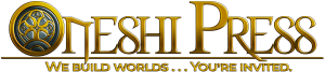 Oneshi Press: We Build Worlds... You're Invited. | Independant comic book publishers golden logo