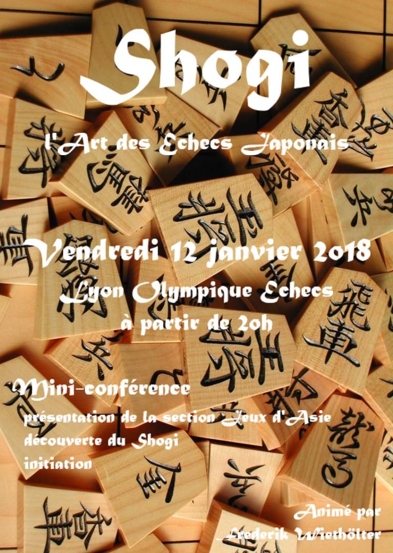 Galette des Rois et Shogi (art des Échecs Japonais) au Lyon Olympique Échecs ce vendredi 12 janvier 2018 à 19h30 !