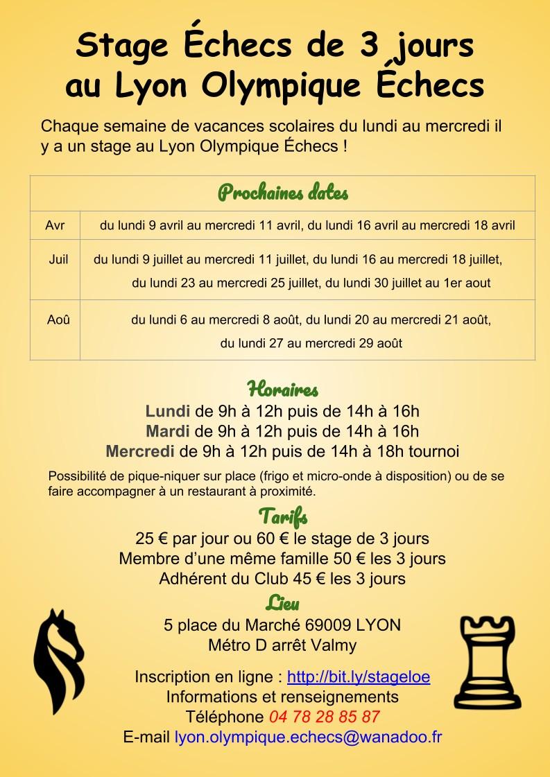 Tournois et Stages au Lyon Olympique Échecs pendant les vacances scolaires !