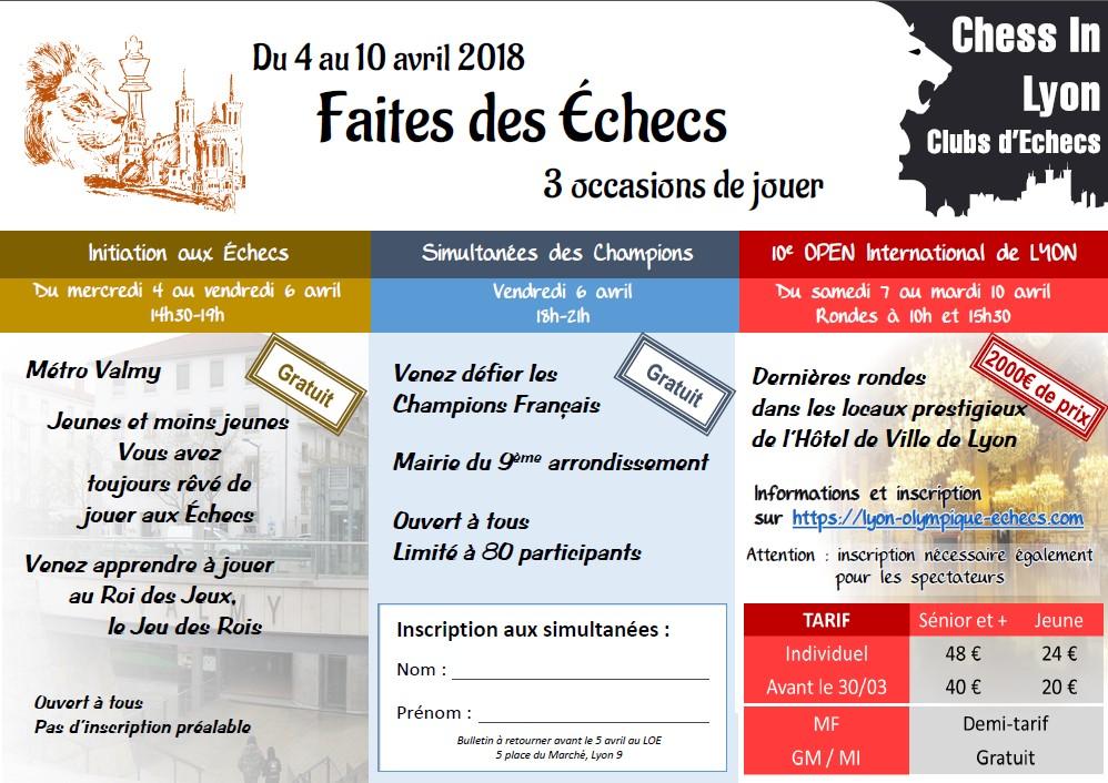 Vendredi 6 avril, 17h30, Conférence de Presse et Simultanées géantes des Champions à la Mairie du 9ème arrondissement de Lyon : Amateurs d'Échecs venez les affronter !