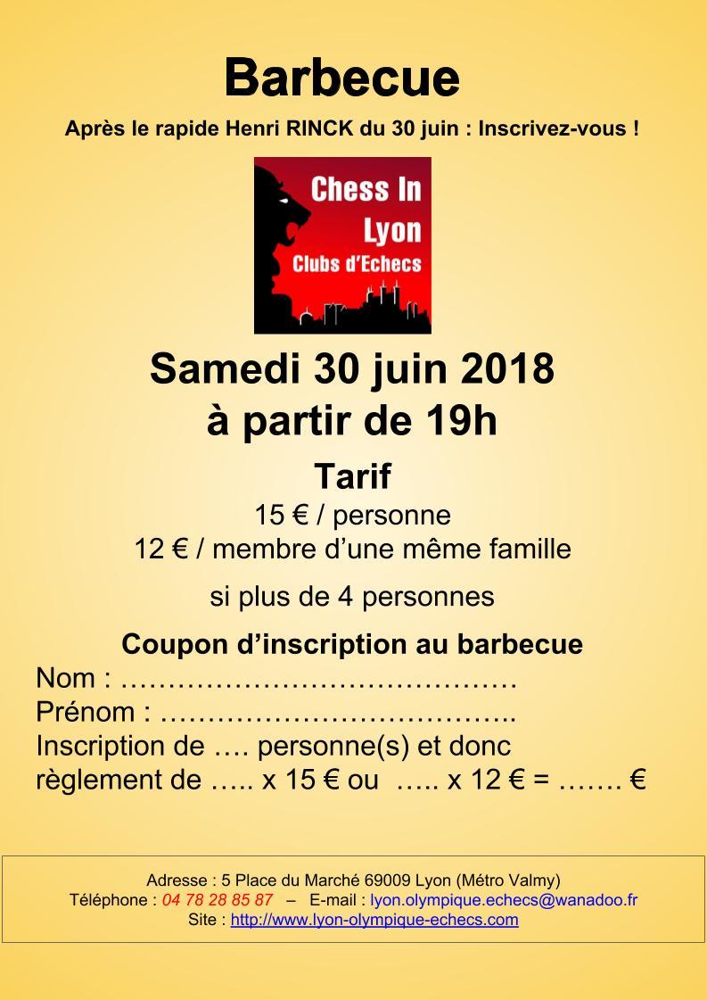 30 juin et 1er juillet 2018 Barbecue, tournoi rapide et blitz ce weekend au Lyon Olympique Échecs !