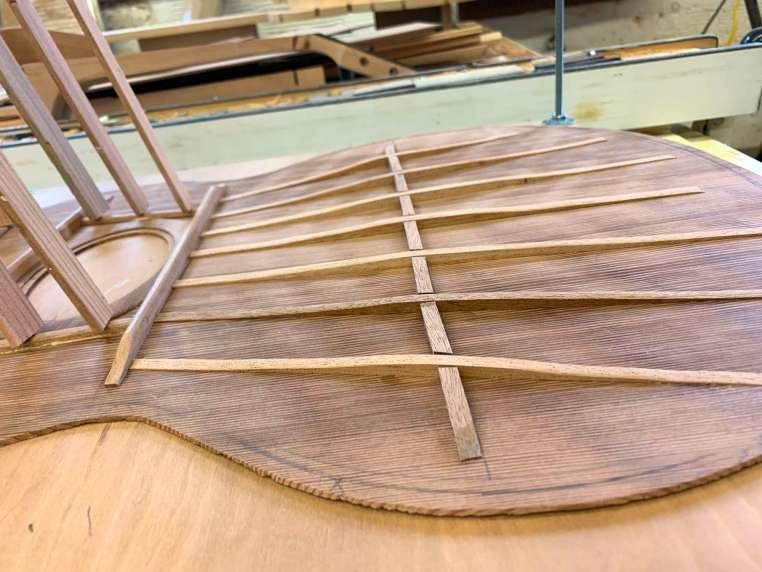 seven fan braces glued to top