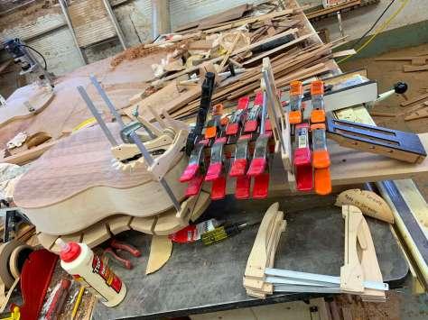 fretboard glued and clamped