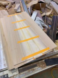 gluing up the three-piece sycamore back