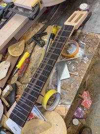macassar ebony fret board is built test-fit to neck