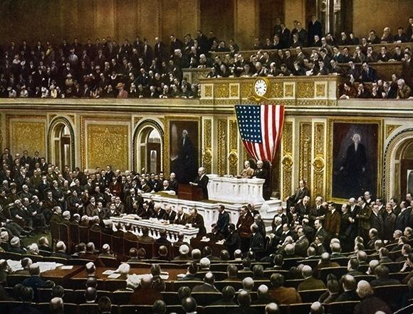 Woodrow Wilson demande au Congrès de déclarer la Guerre à l'Allemagne, 1917 ©Universal History Archive/Bridgeman Images