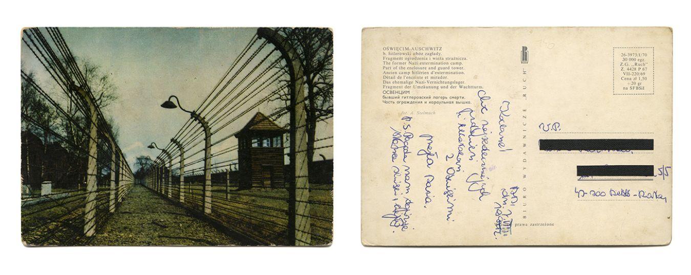 Verso : Mes chéris ! Bien le bonjour et bisous d'Auschwitz, Hania. P.S. Le temps est avec nous, grand soleil et il fait chaud (7 mars 1992). Collection Paweł Szypulski - Edition Patrick Frey