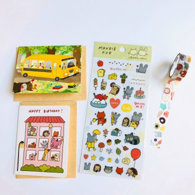Stickers and scrapbooking tape designed by Sticky Rice Stickers are shown.