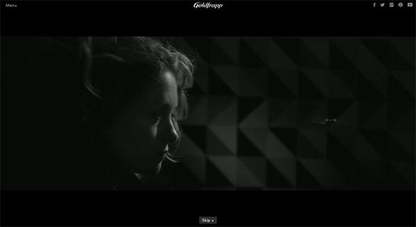 Goldfrapp in 50 Creative Full Screen Video Background Websites