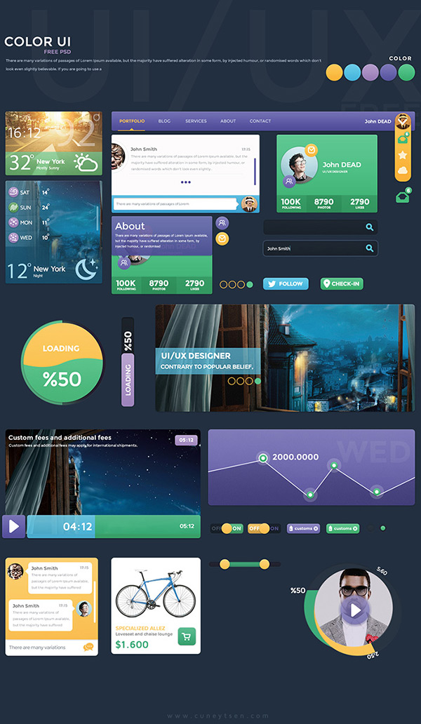 Free Color UI Kit by Cüneyt ŞEN in 35 Fresh, Free and Flat UI Kits