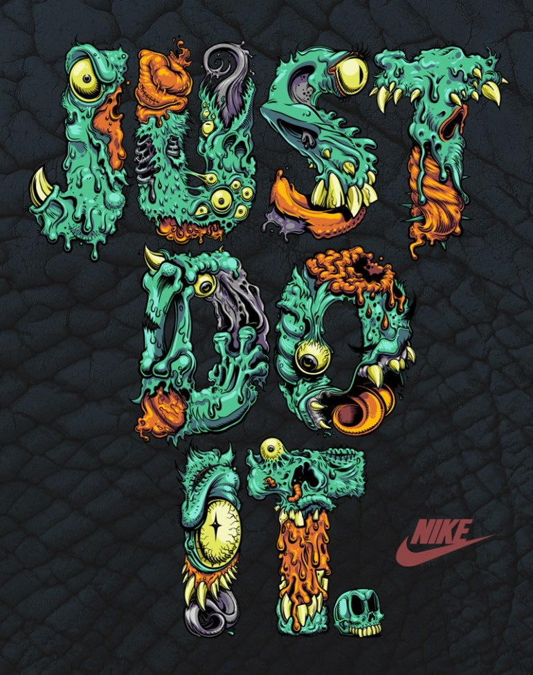 Nike Just Do It. Monster Type by Damasso Sanchez in Showcase of Creative Nike Advertisements