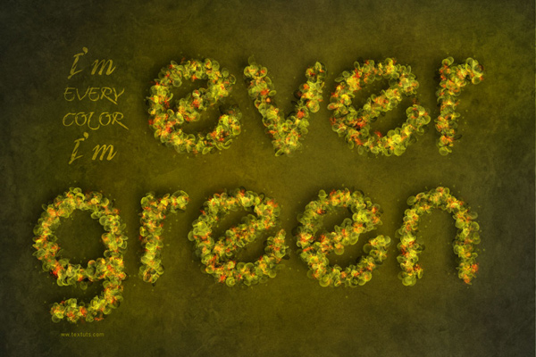 Fantasy Spring Text Effect in 40 Creative Photoshop Text Effect Tutorials