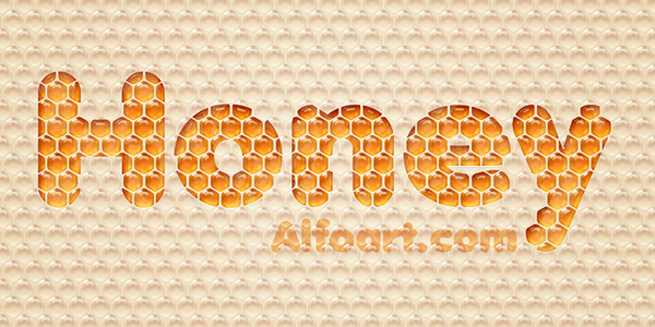 Honey bubbles text effect in 40 Creative Photoshop Text Effect Tutorials
