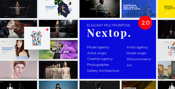 Nextop WordPress theme - Model Artist Talent Agency - Photographer - Gallery - Creative Elegant