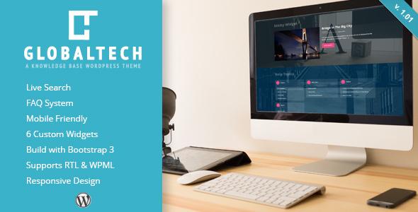 GlobalTech - Responsive Knowledge Base FAQ WordPress Theme