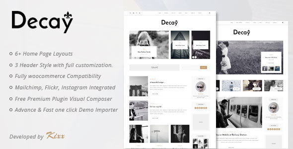 Decay - A Responsive Personal Blog & Woocommerce WordPress Theme