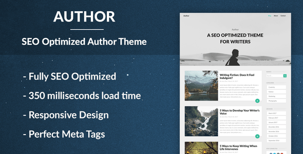 Author - Responsive SEO Optimised WordPress Theme for Bloggers and Journalists
