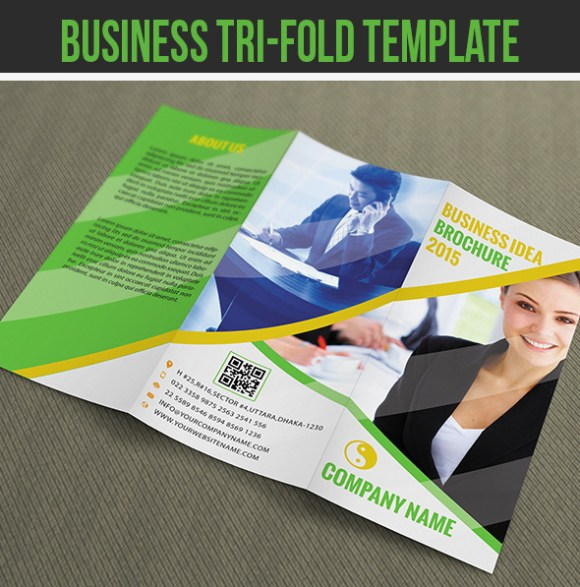 Business Tri-fold Brochure Template PSD