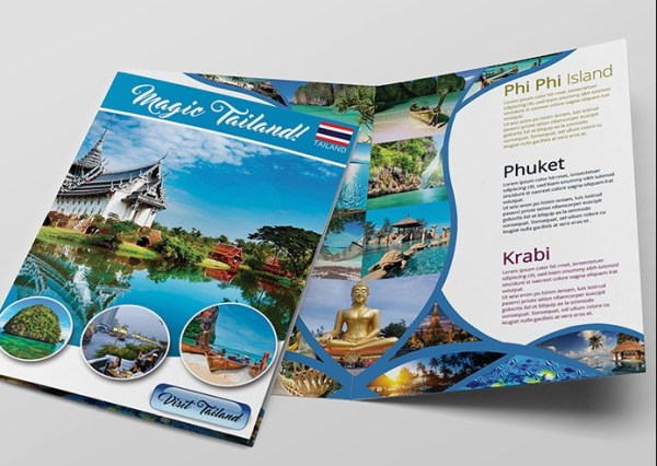 Free PSD Bi-Fold Tourist Brochure Template
