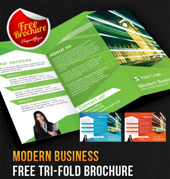 Modern Business Tri-Fold Brochure PSD Template