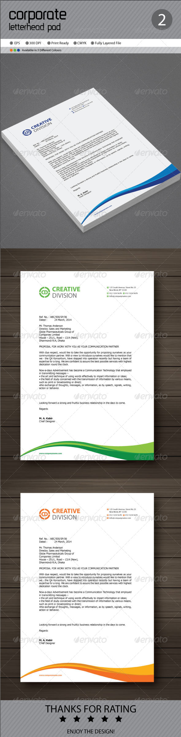 Corporate Letterhead Pad Template