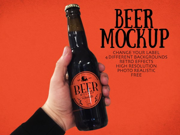 Free Beer Bottle Mockup Vol 6