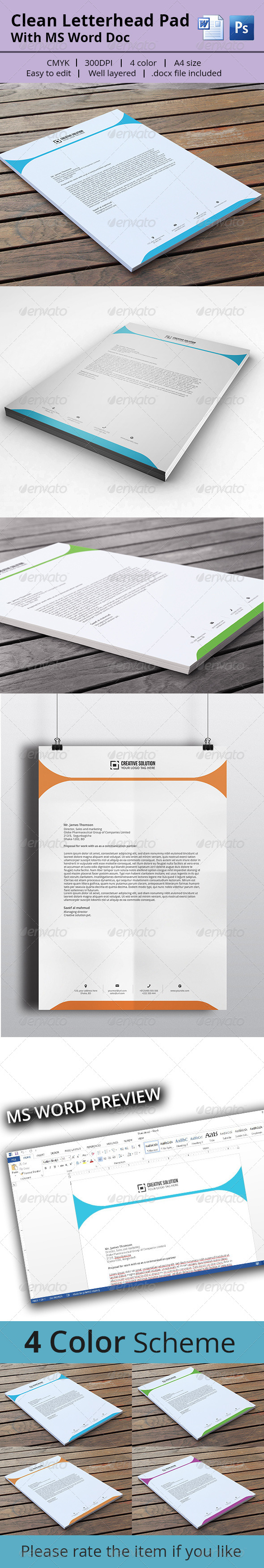 Letterhead Pad With MS Word