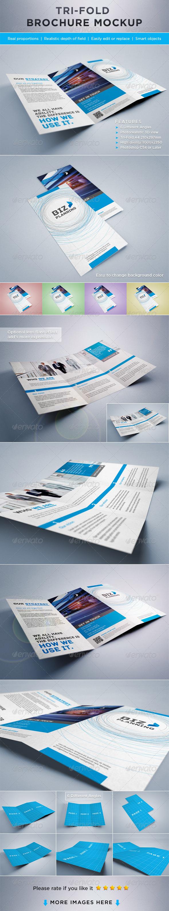 Photorealistic Tri-Fold Brochure Mock-ups