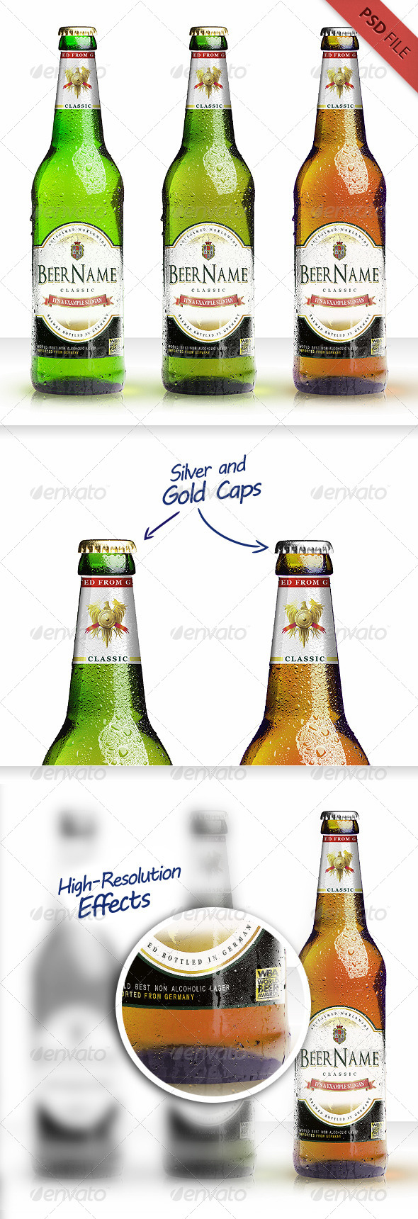Realistic Beer Bottle Mockup