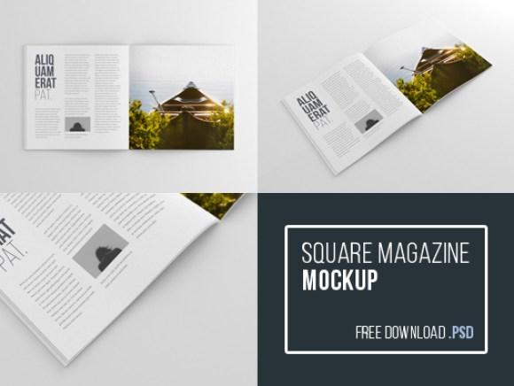 Square Magazine Mockup PSD