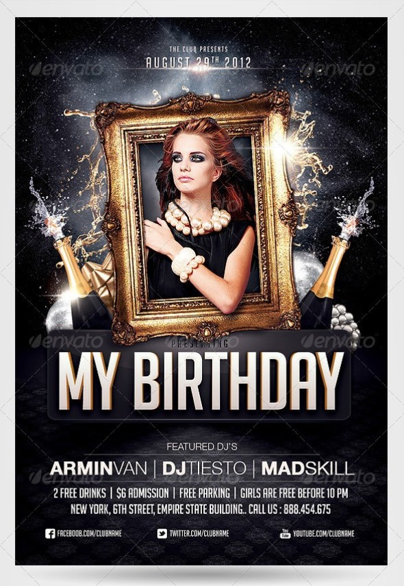 Birthday Party Invitation Flyer Template