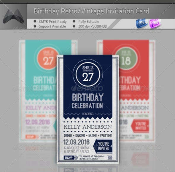 Birthday Retro/Vintage Invitation