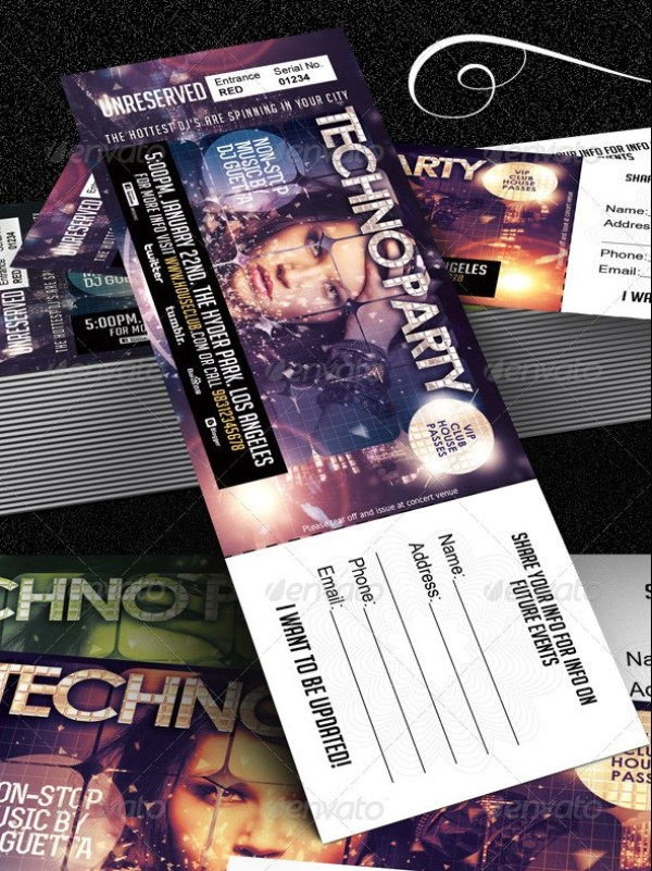 Club, Fashion & Event Multipurpose Tickets Template