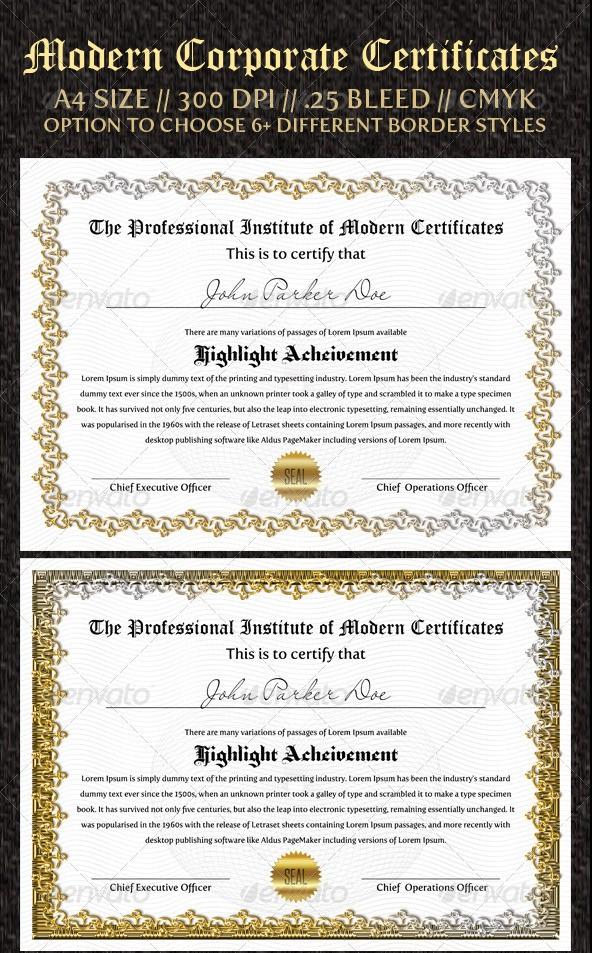 Corporate Certificates Templates