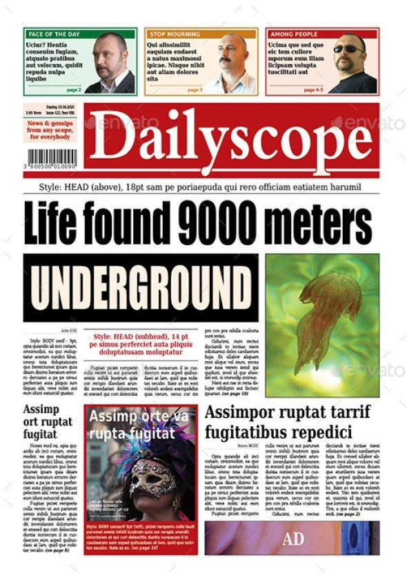 DailyScope - Newspaper Template (16 + 3 Pages)