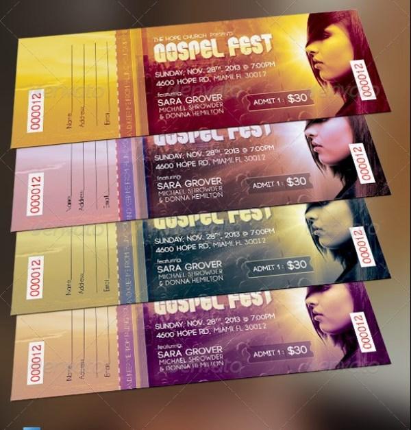 Gospel Fest Concert Ticket Template