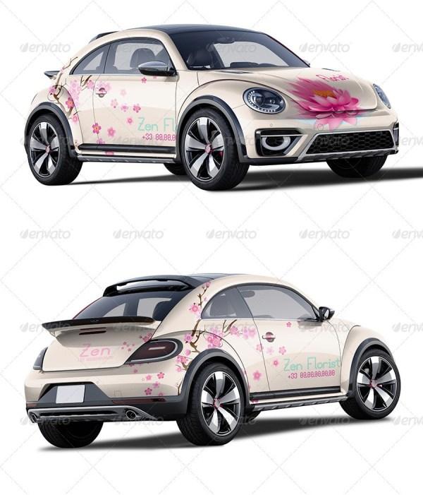 Photorealistic Girly Car Mockup
