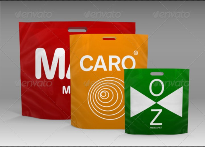 best plastic shopping bag design mockup in psd