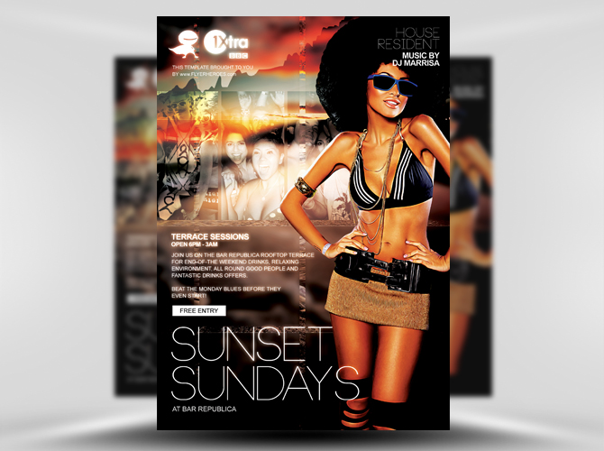 Sunset Sundays Free Flyer Template
